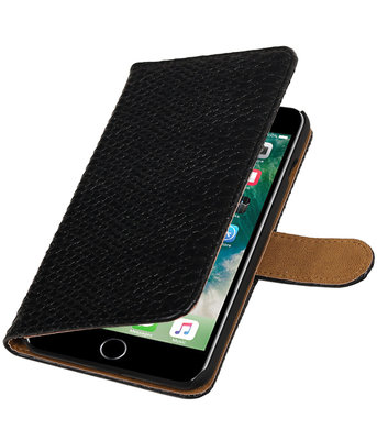 Zwart Slang booktype wallet cover hoesje voor Apple iPhone 7 Plus / 8 Plus