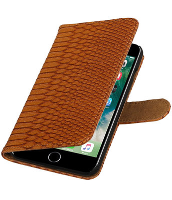 Bruin Slang booktype wallet cover voor Hoesje voor Apple iPhone 7 Plus / 8 Plus