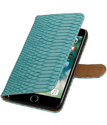 Turquoise Slang booktype wallet cover voor Hoesje voor Apple iPhone 7 Plus / 8 Plus