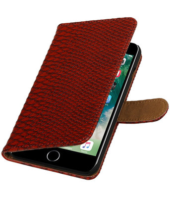 Rood Slang booktype wallet cover hoesje voor Apple iPhone 7 Plus / 8 Plus