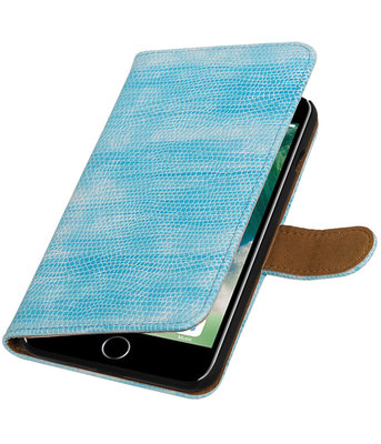 Turquoise Mini Slang booktype wallet cover voor Hoesje voor Apple iPhone 7 Plus / 8 Plus