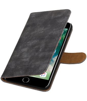 Grijs Mini Slang booktype wallet cover hoesje voor Apple iPhone 7 Plus / 8 Plus