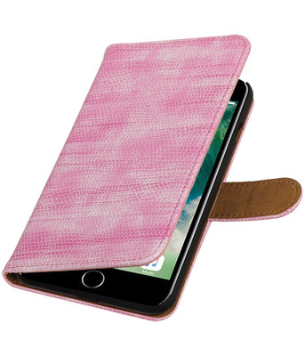 Roze Mini Slang booktype wallet cover hoesje voor Apple iPhone 7 Plus / 8 Plus