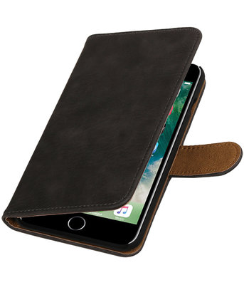 Grijs Hout booktype wallet cover voor Hoesje voor Apple iPhone 7 Plus / 8 Plus