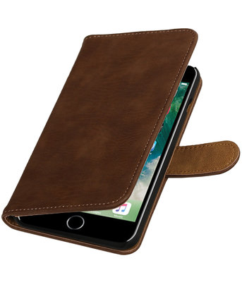 Bruin Hout booktype wallet cover hoesje voor Apple iPhone 7 Plus / 8 Plus