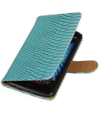 Turquoise Slang booktype wallet cover voor Hoesje voor LG K10