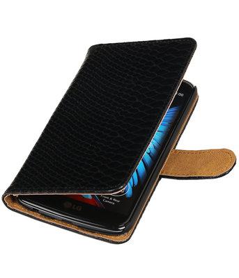 Zwart Slang booktype wallet cover voor Hoesje voor LG K10