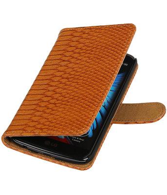 Bruin Slang booktype wallet cover voor Hoesje voor LG K10