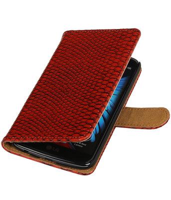 Rood Slang booktype wallet cover voor Hoesje voor LG K10