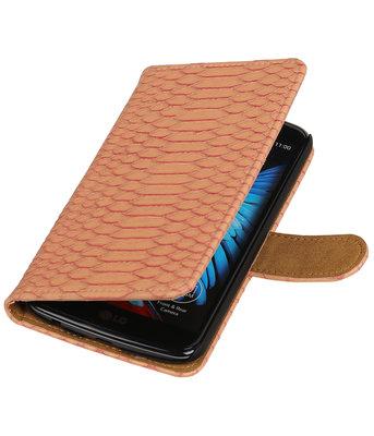 Roze Slang booktype wallet cover voor Hoesje voor LG K10