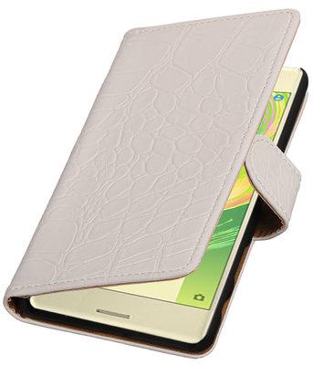 Wit Krokodil booktype cover voor Hoesje voor Sony Xperia X