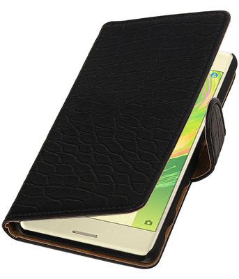 Zwart Krokodil booktype cover voor Hoesje voor Sony Xperia X