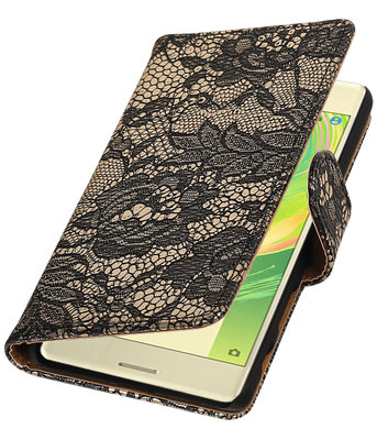 Zwart Lace booktype cover hoesje voor Sony Xperia X