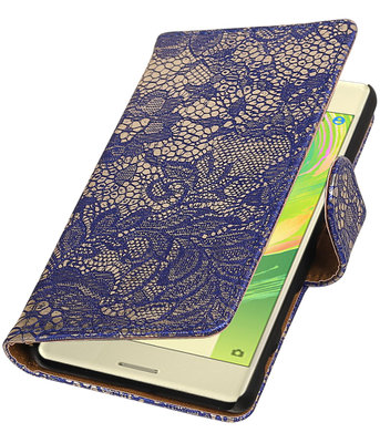 Blauw Lace booktype cover hoesje voor Sony Xperia X