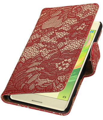 Rood Lace booktype cover hoesje voor Sony Xperia X