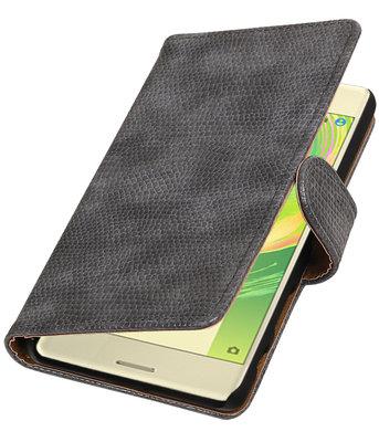 Grijs Mini Slang booktype cover voor Hoesje voor Sony Xperia X