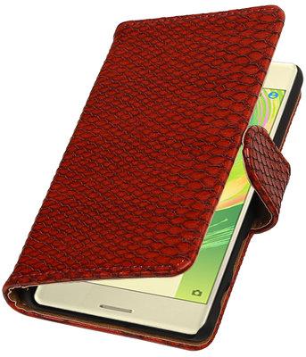 Rood Slang booktype cover voor Hoesje voor Sony Xperia X