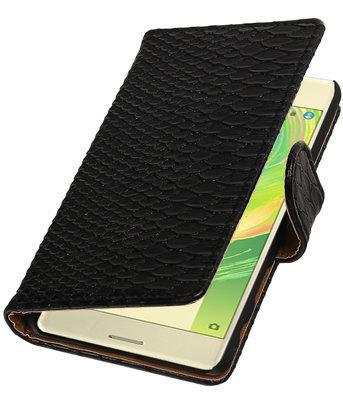 Zwart Slang booktype cover hoesje voor Sony Xperia X