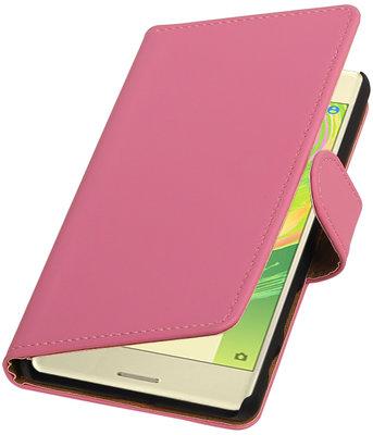 Roze Effen booktype cover voor Hoesje voor Sony Xperia X