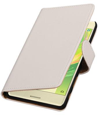 Wit Effen booktype cover voor Hoesje voor Sony Xperia X