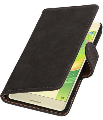 Grijs Hout booktype cover hoesje voor Sony Xperia X