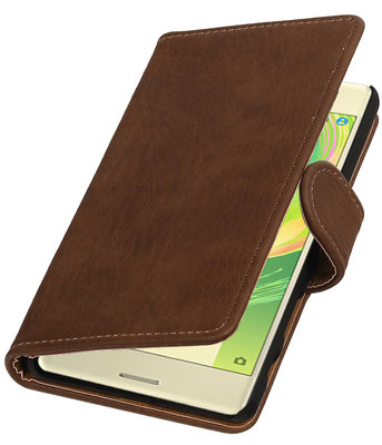 Bruin Hout booktype cover hoesje voor Sony Xperia X