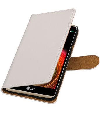 Wit Effen booktype wallet cover voor Hoesje voor LG X Power
