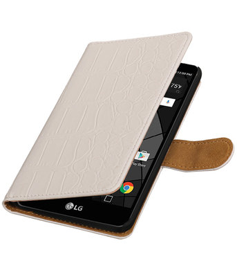 Wit Krokodil booktype wallet cover voor Hoesje voor LG Stylus 2 Plus