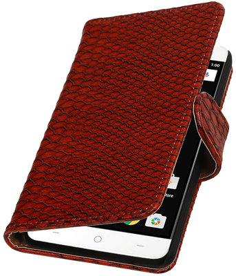 Rood Slang booktype wallet cover voor OnePlus X
