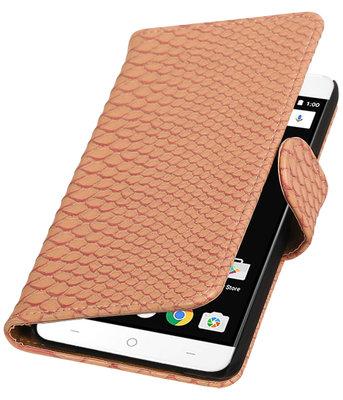 Roze Slang booktype wallet cover voor OnePlus X