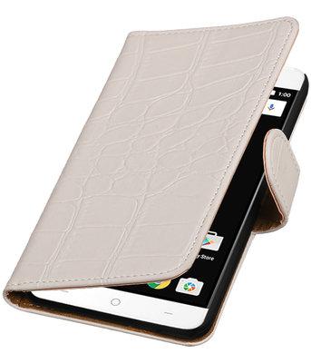 Wit Krokodil booktype wallet cover voor OnePlus X