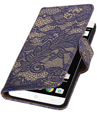 Blauw Lace booktype wallet cover voor OnePlus X