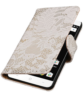 Wit Lace booktype wallet cover voor OnePlus X
