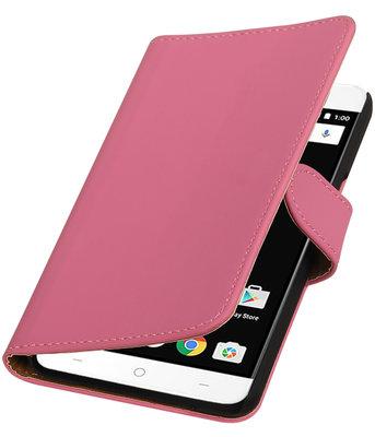 Roze Effen booktype wallet cover voor OnePlus X
