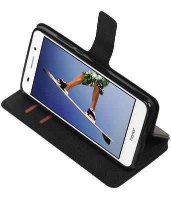 Zwart Hoesje voor Huawei Honor Y6 II TPU wallet case booktype HM Book