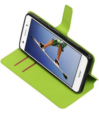 Groen Hoesje voor Huawei Honor Y6 II TPU wallet case booktype HM Book
