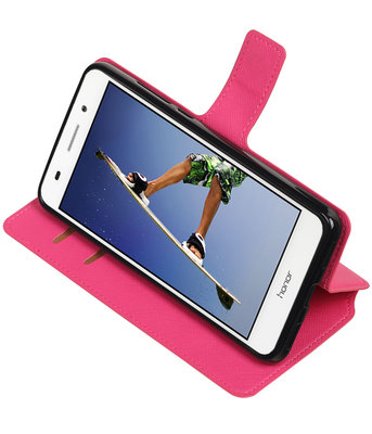 Roze Hoesje voor Huawei Honor Y6 II TPU wallet case booktype HM Book