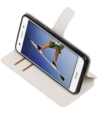 Wit Hoesje voor Huawei  Y6 II TPU wallet case booktype HM Book