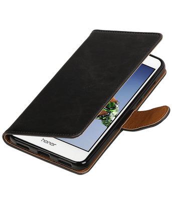 Zwart Pull-Up PU booktype wallet voor Hoesje voor Huawei Holly 3 / Y6 II
