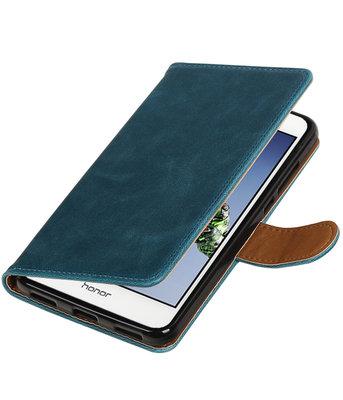 Blauw Pull-Up PU booktype wallet voor Hoesje voor Huawei Holly 3 / Y6 II