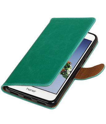 Groen Pull-Up PU booktype wallet voor Hoesje voor Huawei Holly 3 / Y6 II
