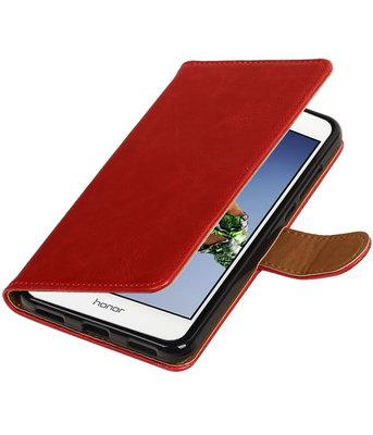 Rood Pull-Up PU booktype wallet voor Hoesje voor Huawei Holly 3 / Y6 II