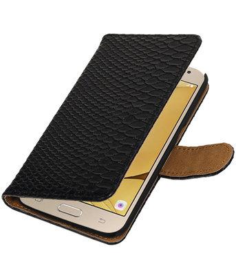 Zwart Slang booktype wallet cover voor Hoesje voor Samsung Galaxy J2 2016