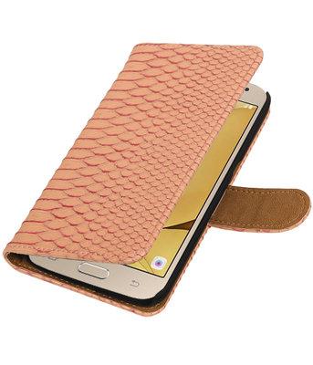 Roze Slang booktype wallet cover voor Hoesje voor Samsung Galaxy J2 2016