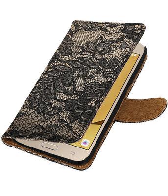Zwart Lace booktype wallet cover voor Hoesje voor Samsung Galaxy J2 2016