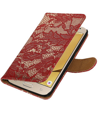 Rood Lace booktype wallet cover voor Hoesje voor Samsung Galaxy J2 2016