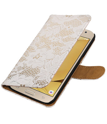Wit Lace booktype wallet cover hoesje voor Samsung Galaxy J2 2016