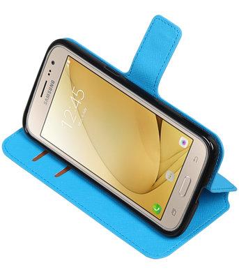 Blauw Hoesje voor Samsung Galaxy J2 2016 TPU wallet case booktype HM Book