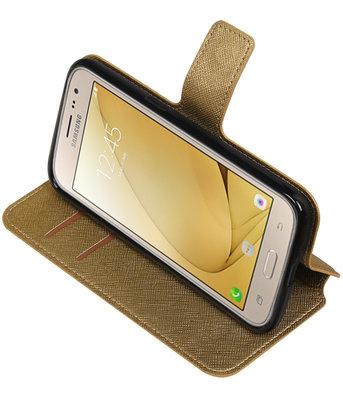 Goud Hoesje voor Samsung Galaxy J2 2016 TPU wallet case booktype HM Book