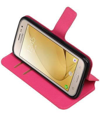 Roze Hoesje voor Samsung Galaxy J2 2016 TPU wallet case booktype HM Book